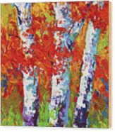 Red Autumn Wood Print