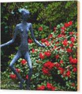 Red Azalea Lady Wood Print
