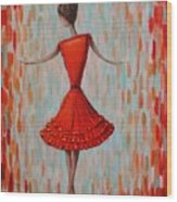 Red Ballerina Wood Print