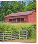 Red Barn Along The Fence Wood Print