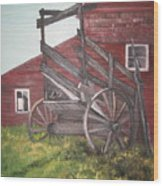 Red Barn and Cattle Ramp Wood Print