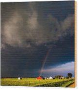 Red Barn And Rainbow Wood Print