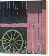 Red Barn And Wagon Wheel Wood Print
