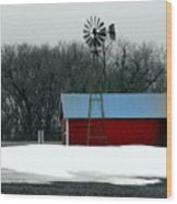 Red Barn And Windmill Wood Print