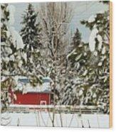 Red Barn At Christmas Wood Print