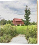 Red Barn At Dawes Arboretum Wood Print