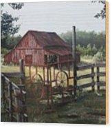 Red Barn At Sunrise Wood Print by Cynara Shelton