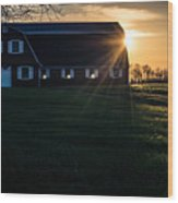 Red Barn At Sunset Wood Print