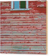 Red Barn Broken Window Wood Print