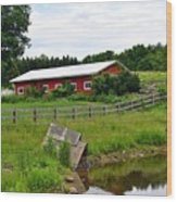 Red Barn By The Lake Wood Print