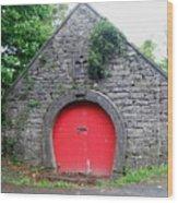 Red Barn Door In Ireland Wood Print