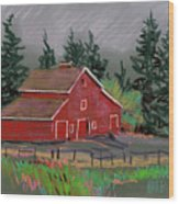 Red Barn In La Honda Wood Print