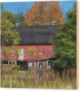Red Barn In October Wood Print