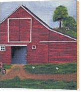 Red Barn In South Dakota Wood Print
