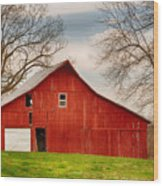 Red Barn In The Blue Sky Wood Print