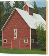 Red Barn Montana Wood Print