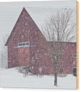 Red Barn Nor'easter  Wood Print