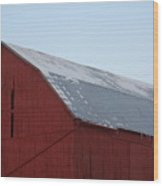 Red Barn On A Brisk Winter Day Wood Print