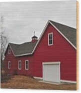Red Barn On A Grey Day Wood Print