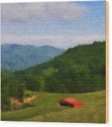 Red Barn On The Mountain Wood Print