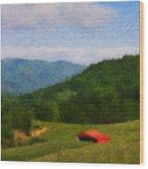 Red Barn On The Mountain Wood Print by Teresa Mucha