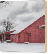 Red Barn On Wintry Day Wood Print