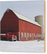Red Barn Red Truck Wood Print