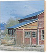 Red Barn, Route 50, Nevada Wood Print