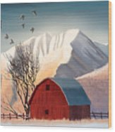 Red Barn Snow Western - Countryside Painting Wood Print