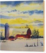 Red Barn Sunrise Wood Print