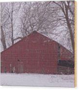Red Barn Trees Snow Wood Print