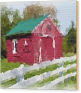 Red Barn Vermont Watercolor Wood Print