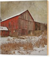 Red Barn White Snow Wood Print by Larry Marshall