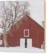 Red Barn Winter Country Landscape Wood Print by James BO  Insogna
