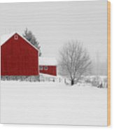 Red Barn Winter Landscape Wood Print
