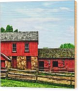 Red Barn With Fence Wood Print