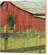 Red Barn With Vines Wood Print