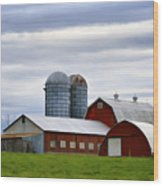 Red Barns Of 3 Wood Print