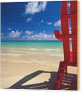 Red Beach Chair Wood Print