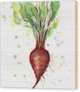 Red Beet Watercolor Wood Print