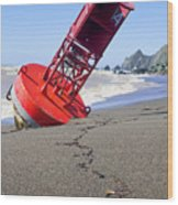 Red Bell Buoy On Beach With Bottle Wood Print