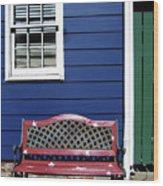 Red Bench Blue House Wood Print