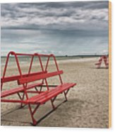 Red Bench On A Beach Wood Print