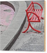 Red Bench Wood Print