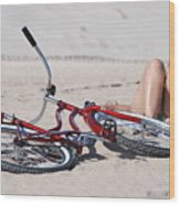 Red Bike On The Beach Wood Print