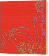 Red Biker Biatch Ps Wood Print