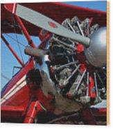 Red Biplane Wood Print