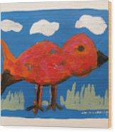 Red Bird In Grass Wood Print