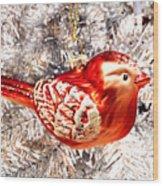 Red Bird White Tree Wood Print