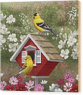 Red Birdhouse And Goldfinches Wood Print by Crista Forest